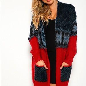 Kerisma Wool Blend Teal Red Printed Knit Cardigan